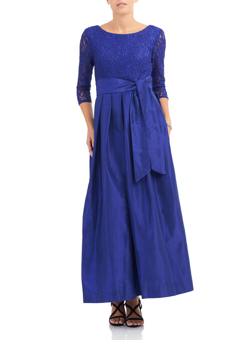 Taffeta & Lace Dress, Blue, hi-res