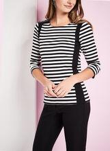 3/4 Sleeve Stripe Print T-Shirt , Black, hi-res