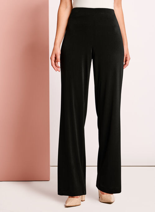 Straight Leg Crepe Knit Pants, Black, hi-res