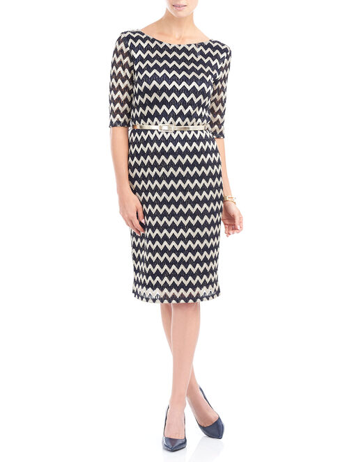 Elbow Sleeve Zig Zag Print Crochet Dress  , Blue, hi-res