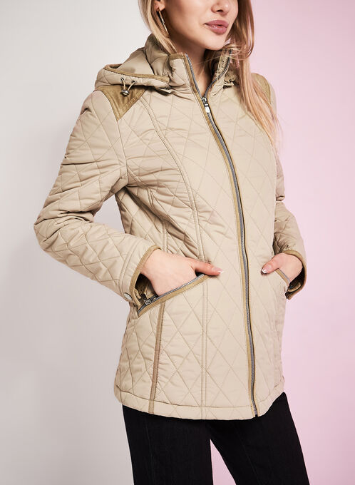 Novelti Diamond Quilted Coat, Brown, hi-res