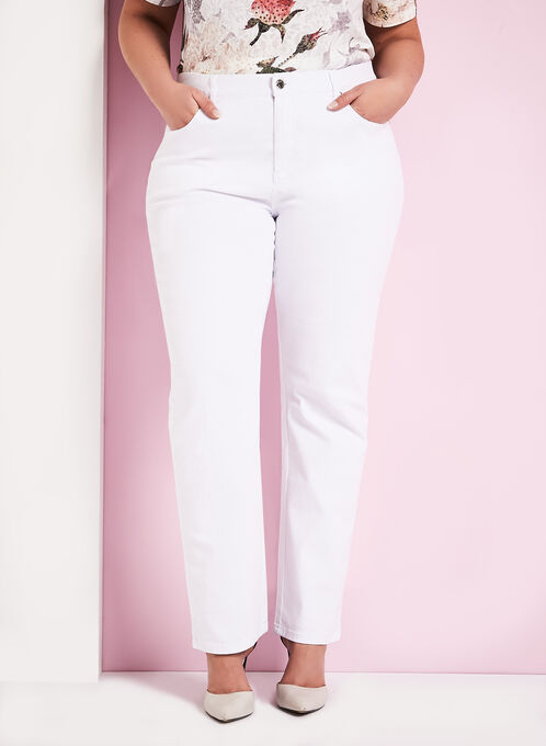 Simon Chang Straight Leg Jeans, White, hi-res