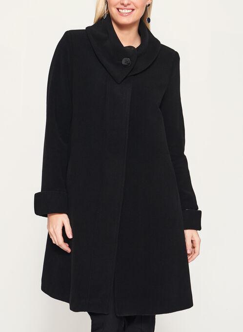 Cashmere Blend A-Line Coat, Black, hi-res