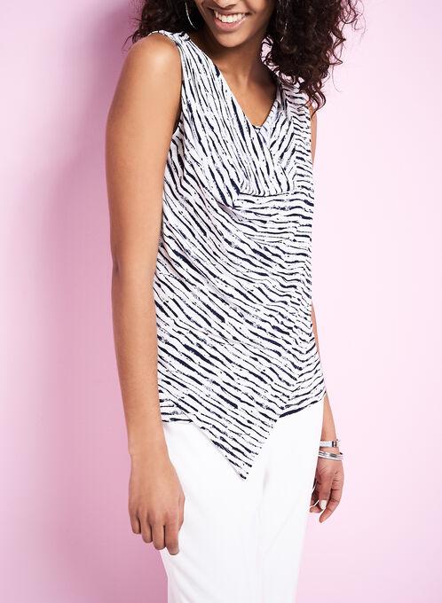 Abstract Print Drape Neck Top , White, hi-res