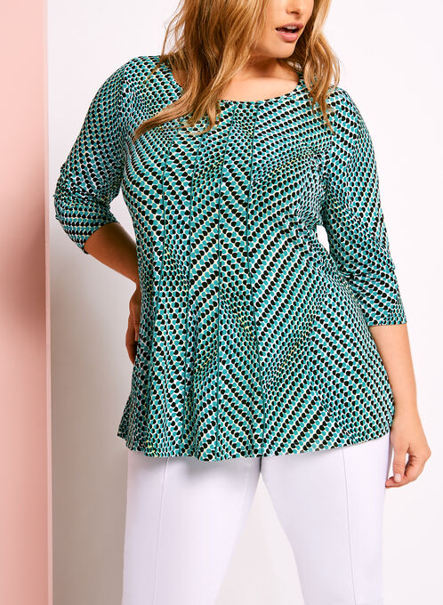 3/4 Sleeve Geometric Print Top, Blue, hi-res