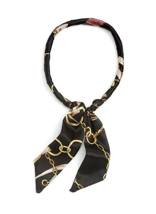 Foulard carré façon collier à nouer motif chaîne, Noir, hi-res