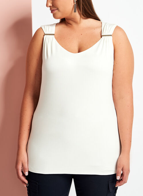 Sleeveless Ruched V-Neck Top, Off White, hi-res