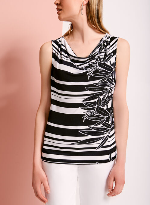 Stripe Print Drape Front Top, White, hi-res