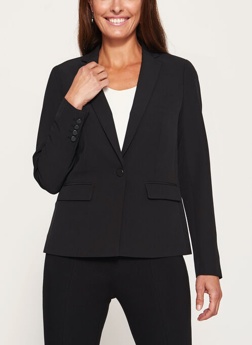 One-Button Notch Collar Blazer, Black, hi-res