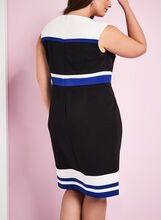 Sleeveless Colour Block Dress, Black, hi-res