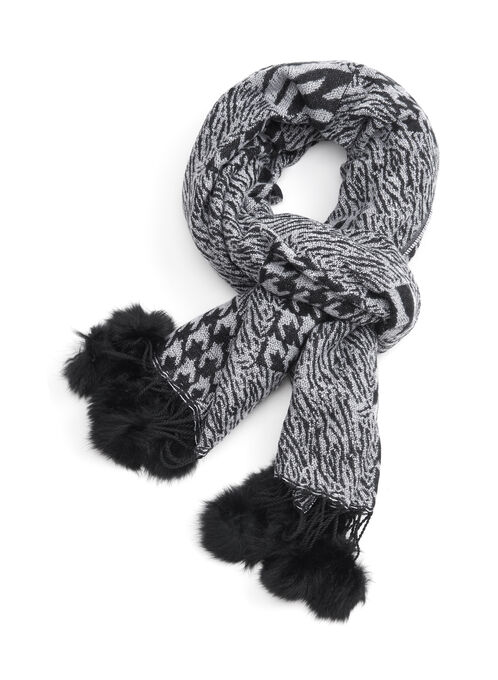 Printed Fur Oblong Scarf, Grey, hi-res