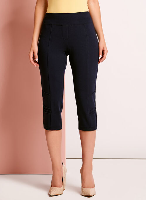 Picadilly Pull-On Capri Pants, Blue, hi-res