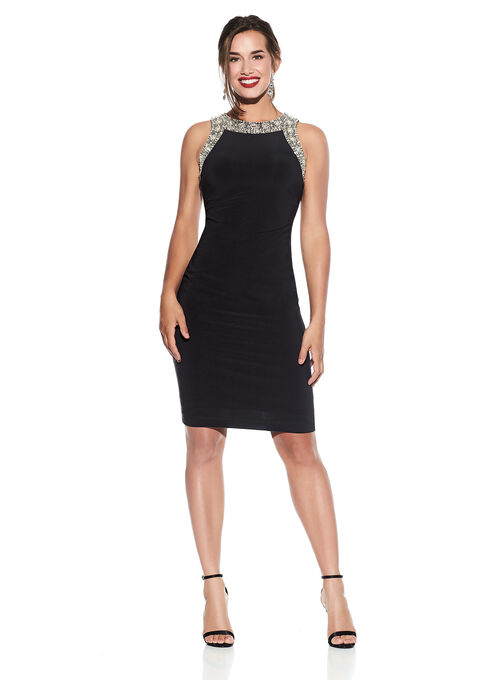 Sleeveless Beaded Jersey Dress, Black, hi-res