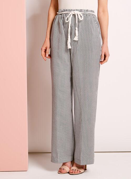 Linea Domani Stripe Print Wide Leg Pants, Black, hi-res