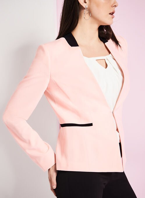 Colour Block Faux Collar Blazer, Pink, hi-res
