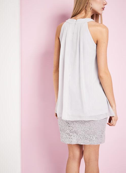 Tiered Crystal Embellished Dress, Silver, hi-res