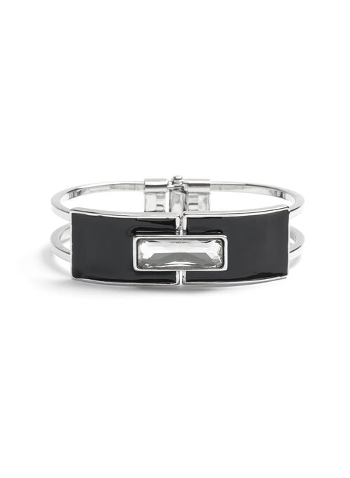 Crystal Cutout Bangle, Black, hi-res