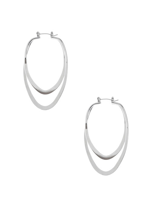 Elongated Double Hoop Earrings, Silver, hi-res