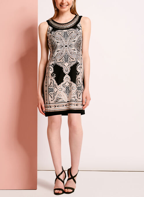 Embellished Paisley Print Dress, Black, hi-res