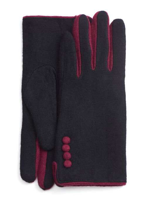 Contrast Detail Wool Gloves, Black, hi-res