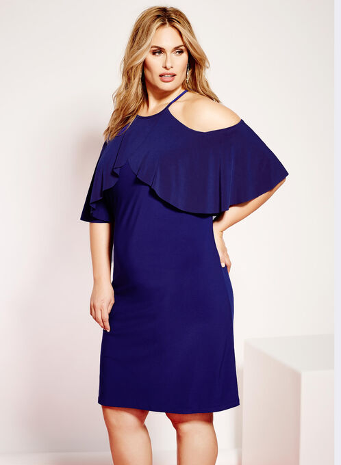 Jersey Cold Shoulder Ruffle Dress, Blue, hi-res