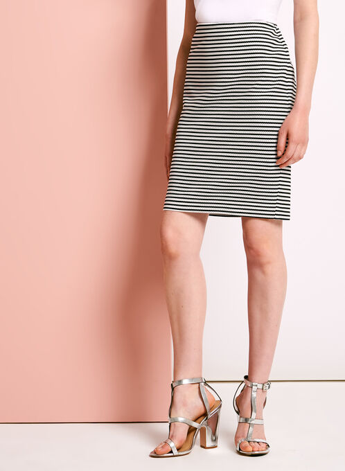 Textured Stripe Pencil Skirt, Black, hi-res