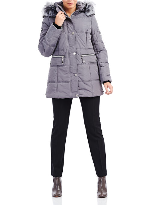 Novelti Faux Fur Polyfill Coat , Grey, hi-res
