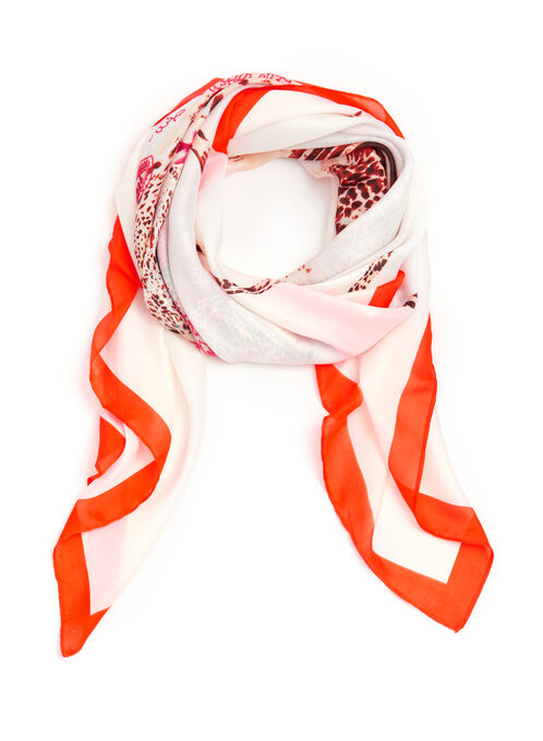 Border & Abstract Print Scarf, Red, hi-res