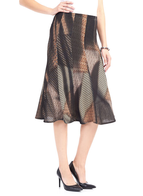 Abstract Print Knit Midi Skirt , Brown, hi-res