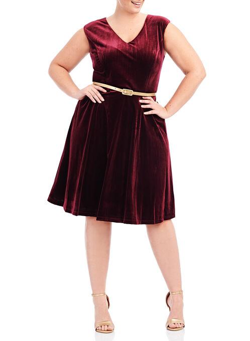 Fit & Flare Velvet Dress, Red, hi-res