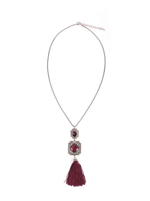 Cutout Tassel Pendant Necklace, Red, hi-res