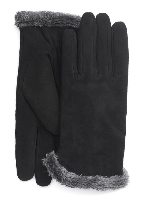 Suede & Faux Fur Gloves, Black, hi-res