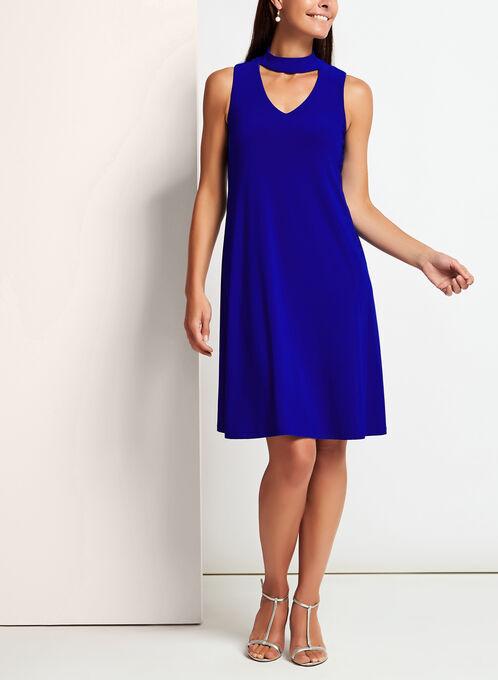 Jersey Choker Neck Trapeze Dress, Blue, hi-res