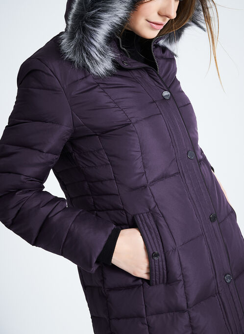 Novelti Faux Fur Down Coat , Purple, hi-res