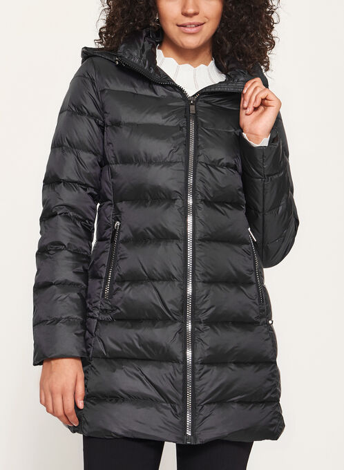 Quilted Down Nylon Coat, Black, hi-res