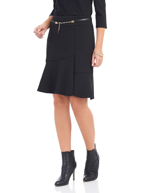 Knit Crepe Skirt with Chain Belt, Black, hi-res