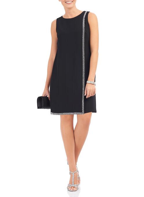 Crêpe Rhinestone Overlay Dress, Black, hi-res