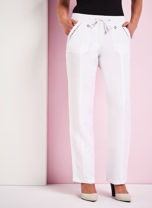 Pointelle Trim Wide Leg Linen Pants, White, hi-res