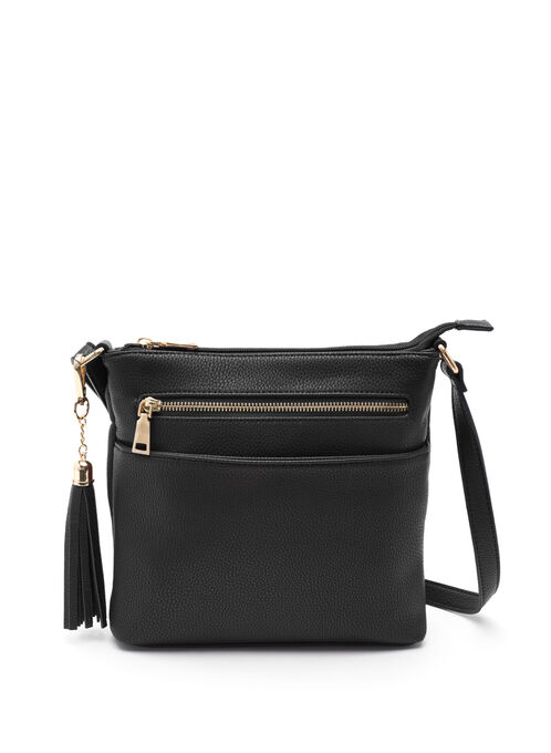 Faux Leather Crossbody Handbag, Black, hi-res