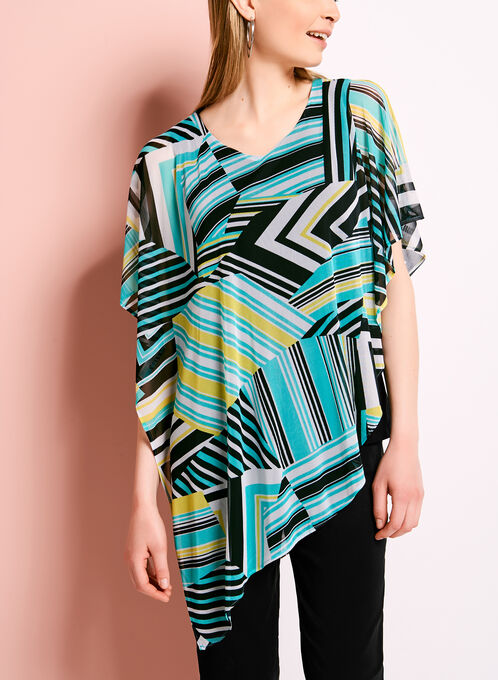 Stripe Print Cold Shoulder Poncho Blouse, Blue, hi-res
