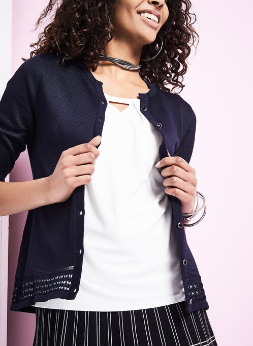 Button-Down Pointelle Border Cardigan, Blue, hi-res