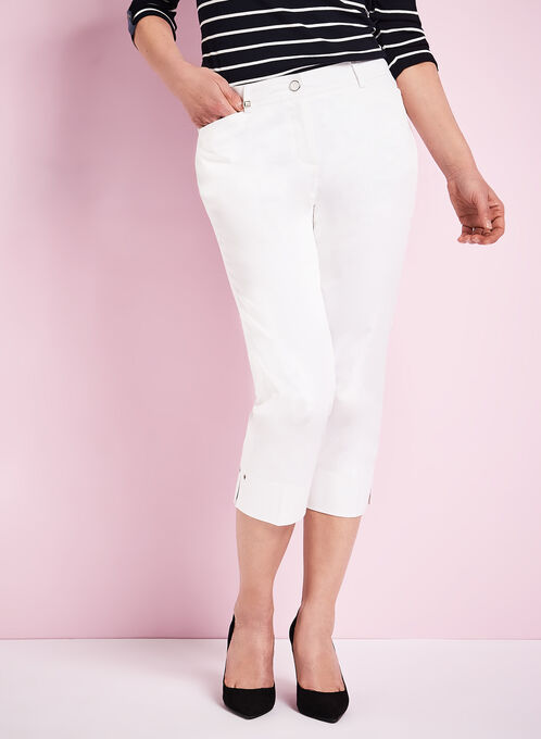 Modern Fit Straight Leg Capris, Off White, hi-res