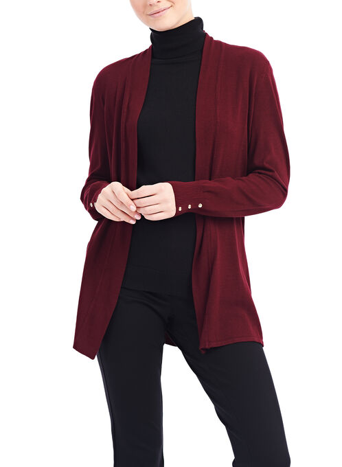 Open Front Knit Cardigan, Red, hi-res