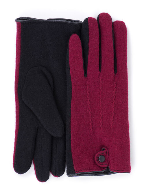 Two-Tone Wool Blend Gloves, Red, hi-res