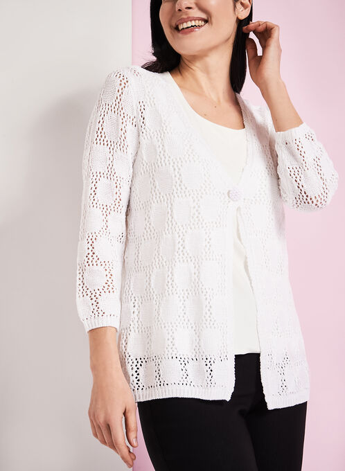 3/4 Sleeve Crochet Cardigan, White, hi-res