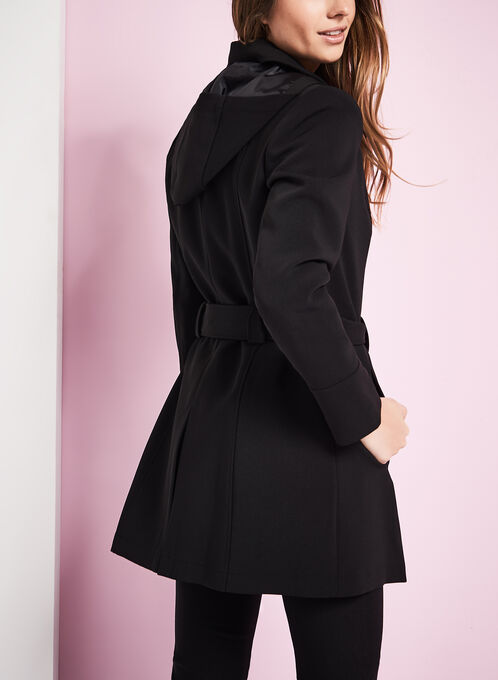 Faux Leather Trim Trench Coat, Black, hi-res