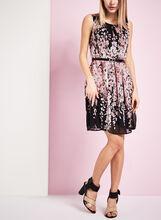 Belted Floral Print Chiffon Dress, , hi-res