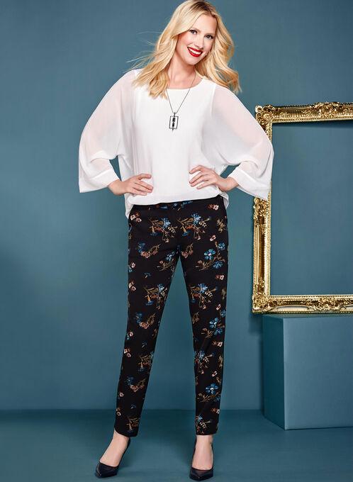 Floral Modern Fit Slim Leg Pants, Black, hi-res