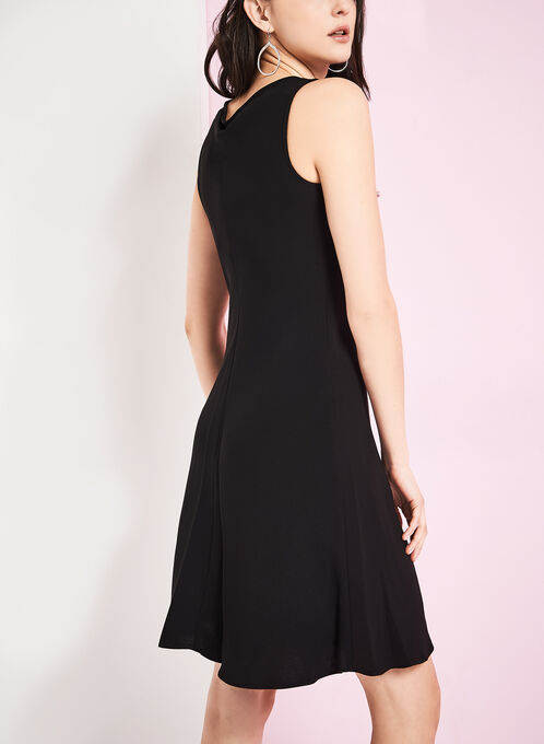 Crepe Cowl Neck Dress, Black, hi-res