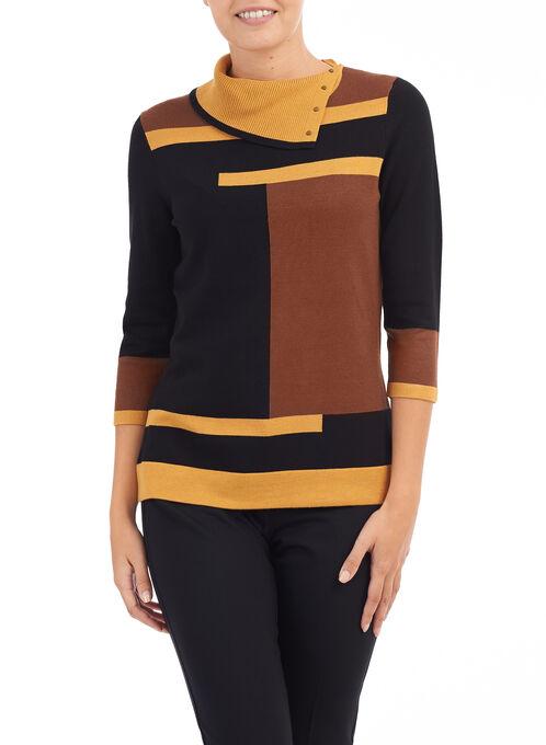 Printed Split Collar Sweater, Yellow, hi-res